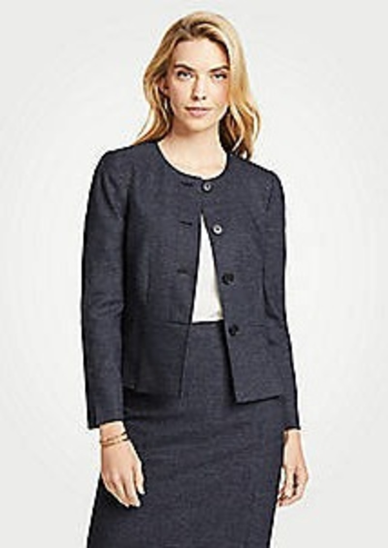 Ann Taylor Mini Check Pleated Peplum Jacket
