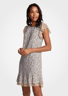 Ann Taylor Mini Garden Ruffle Shift Dress