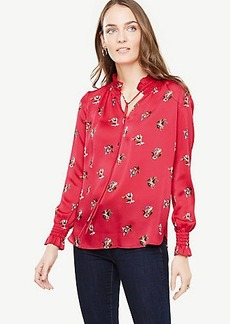 Ann Taylor Mini Shawl Floral Smocked Neck Popover Blouse