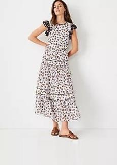 Ann Taylor Mixed Animal Print Ruffle Sleeve Midi Dress