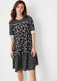 Ann Taylor Mixed Floral Tiered Shift Dress