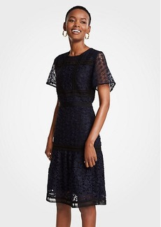 Ann Taylor Mixed Lace Flare Dress