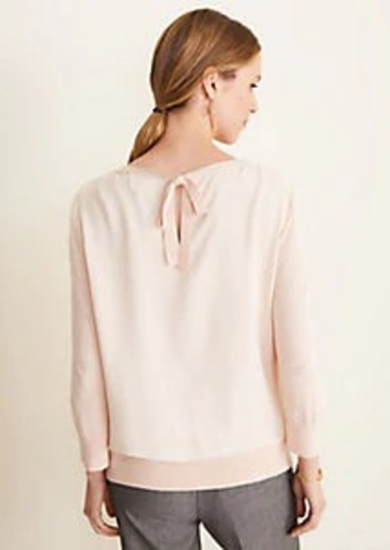 Ann Taylor Mixed Media Bow Back Sweater