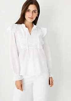 Ann Taylor Mixed Media Eyelet Bib Top