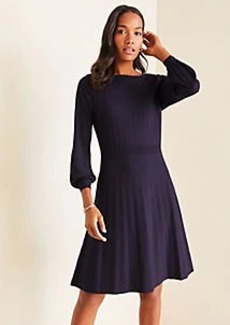 Ann Taylor Mixed Media Flare Sweater Dress