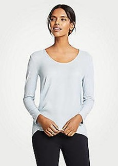 Ann Taylor Mixed Media Long Sleeve Scoop Neck Top