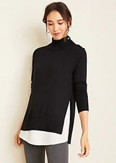 Ann Taylor Mixed Media Mock Neck Sweater
