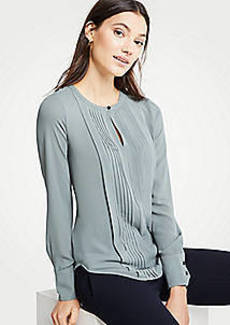 Ann Taylor Mixed Media Pleat Front Blouse