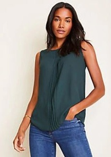 Ann Taylor Mixed Media Pleat Front Shell