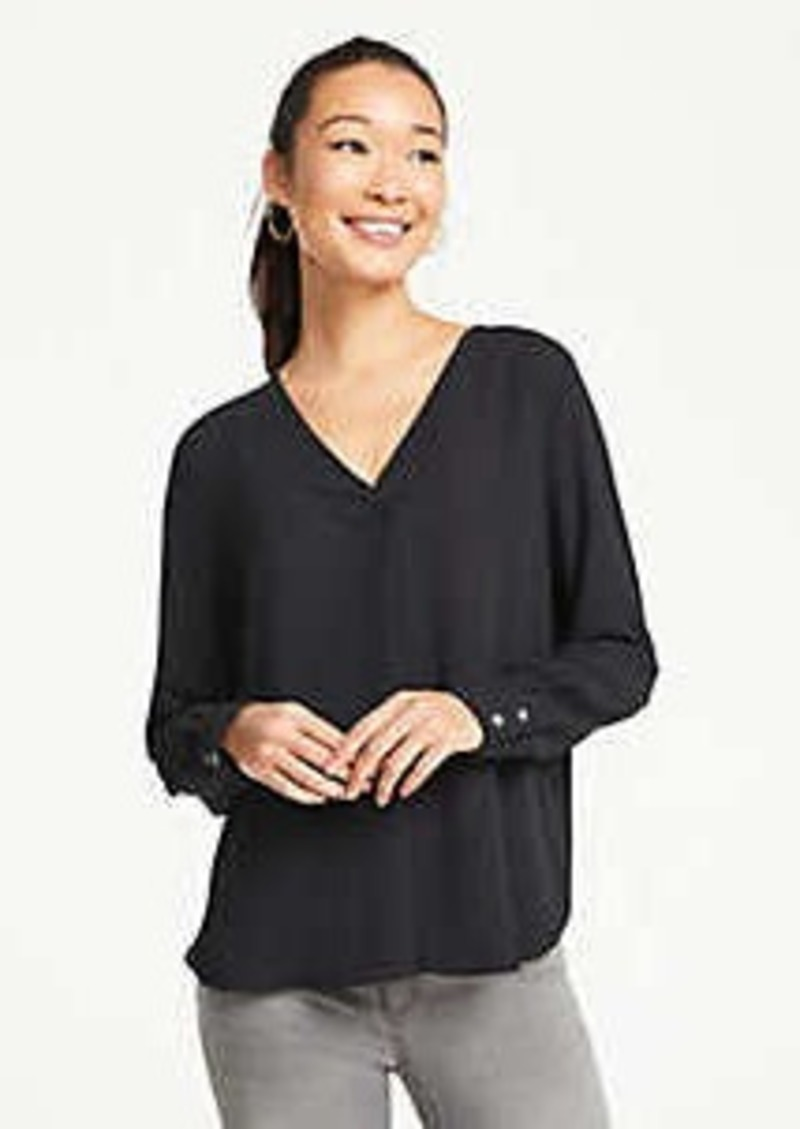 Ann Taylor Mixed Media Pleat Front Top