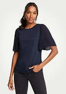 Ann Taylor Mixed Media Pleated Sleeve Tee