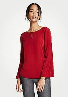 Ann Taylor Mixed Media Pleated Sleeve Top