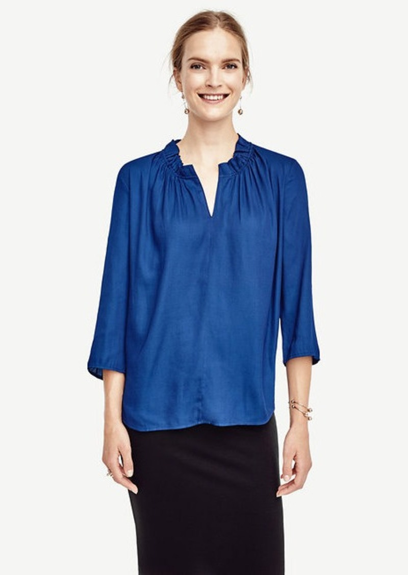 Ann Taylor Mixed Media Ruffle Neck Top