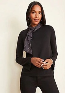 Ann Taylor Mixed Media Tie Neck Sweater