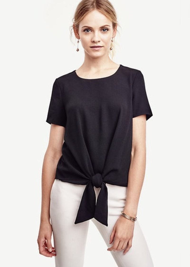 Ann Taylor Mixed Media Tie Tee