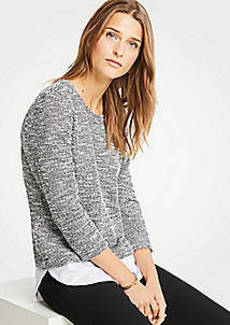 Ann Taylor Mixed Media Tweed Knit Top