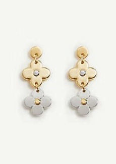 Ann Taylor Mixed Metal Flower Drop Earrings