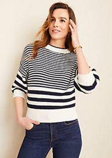 Ann Taylor Mixed Stripe Puff Sleeve Sweater