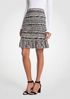 Ann Taylor Mixed Tweed Ruffle Skirt