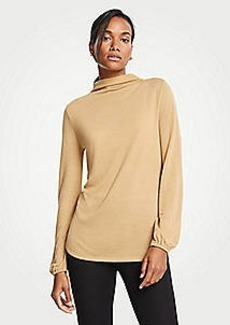 Ann Taylor Mock Neck Balloon Sleeve Knit Top
