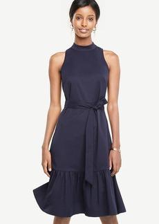 Mock Neck Belted Dress