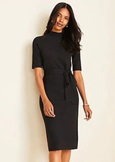 Ann Taylor Mock Neck Belted Sweater Dress