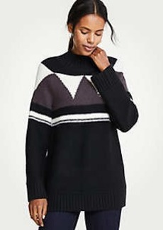 Ann Taylor Mock Neck Fair Isle Sweater