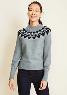 Ann Taylor Mock Neck Fairisle Sweater