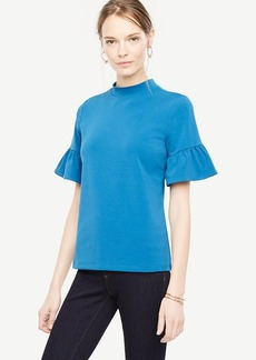 Mock Neck Flare Sleeve Top