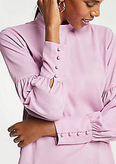 Ann Taylor Mock Neck Lantern Sleeve Blouse