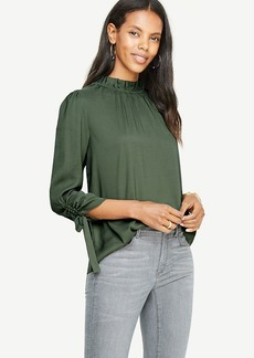 Mock Neck Ruched Sleeve Blouse