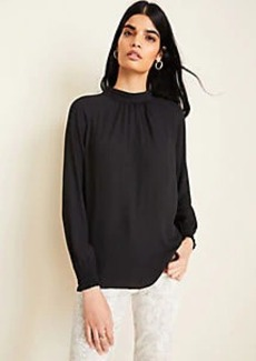 Ann Taylor Mock Neck Smocked Cuff Blouse