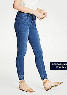 Ann Taylor Modern Embroidered Hem All Day Skinny Jeans
