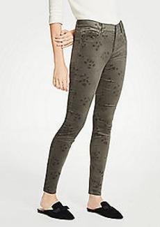 Ann Taylor Modern Skinny Embossed Floral Velvet Jeans