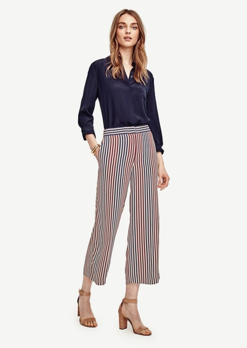 Ann Taylor Multi Stripe Wide Leg Crop Pants