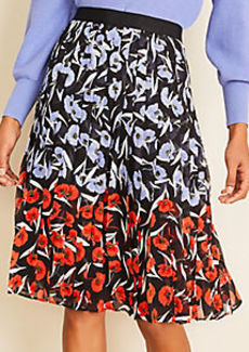Ann Taylor Multicolored Poppy Pleated Skirt