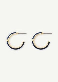 Ann Taylor Navy Enamel Hoop Earrings