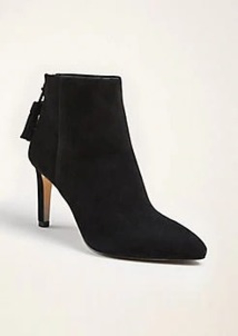 Ann Taylor Nell Suede Tassel Heeled Booties