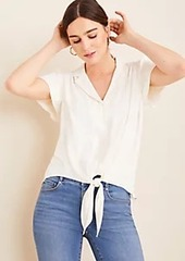 Ann Taylor Notched Collar Tie Front Top