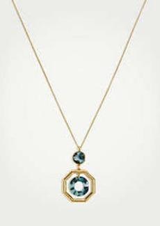 Ann Taylor Octagon Tortoiseshell Print Pendant Necklace