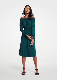 Ann Taylor Off The Shoulder Smocked Waist Dress