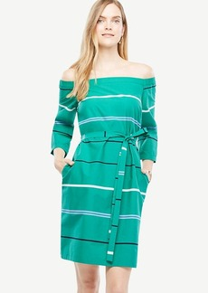 Off The Shoulder Striped Poplin Dress