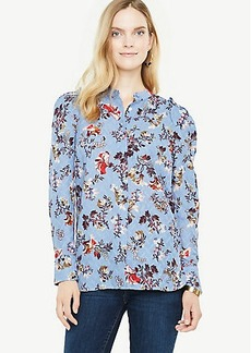 Opulent Floral Clip Chiffon Pleated Shoulder Blouse
