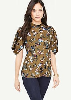 Ann Taylor Opulent Floral Puff Sleeve Top