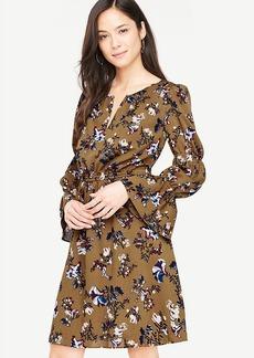 Opulent Floral Ruffle Sleeve Dress