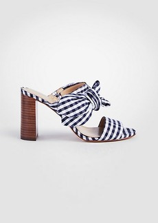 Ann Taylor Oriana Gingham Bow Block Heel Sandals