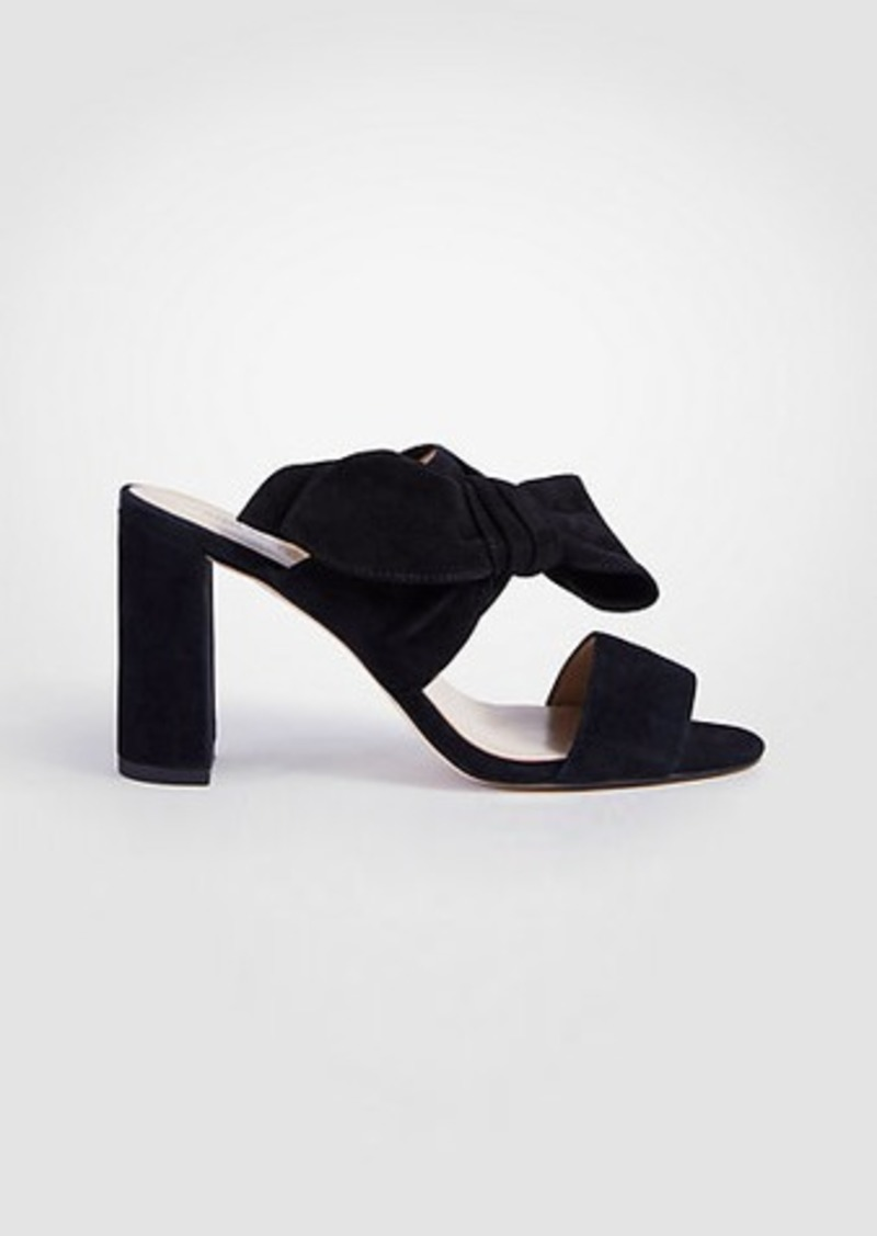 Ann Taylor Oriana Suede Bow Block Heel Sandals