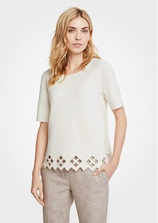 Ann Taylor Petite Lattice Cutout Sweater