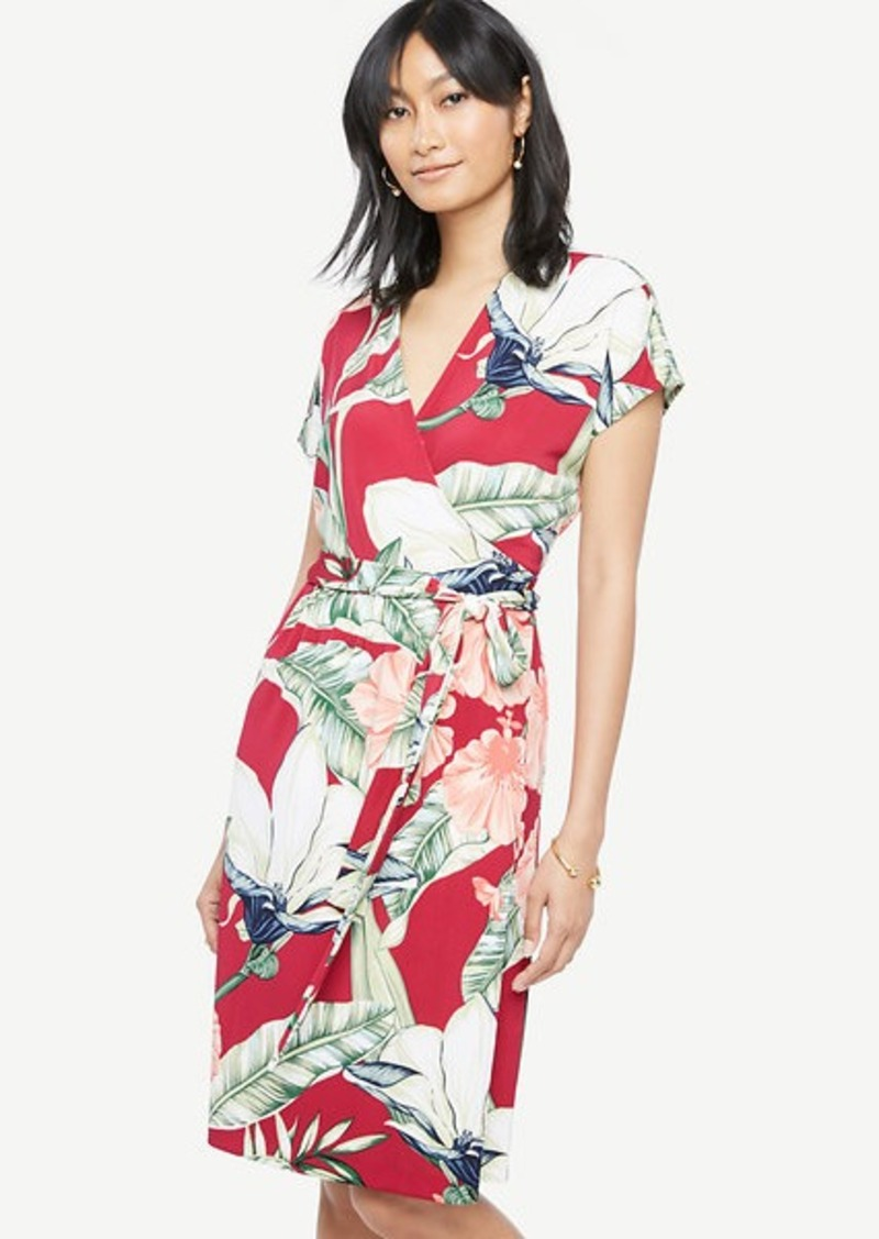 Ann Taylor Palm Leaf Short Dolman Sleeve Wrap Dress