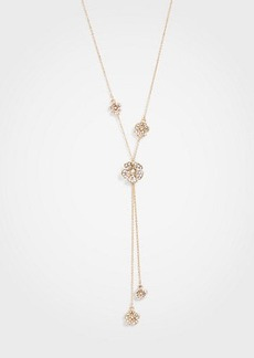 Ann Taylor Pave Flower Double Strand Pendant Necklace